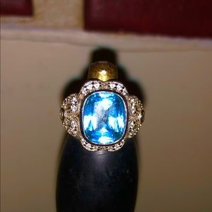 ESPO 925 CZ Blue Topaz/ Clear cubic zirconia Ring